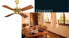 Picture of HUNTER Bayport Bright Brass Finish With Walnut Blades Designer Ceiling Fan