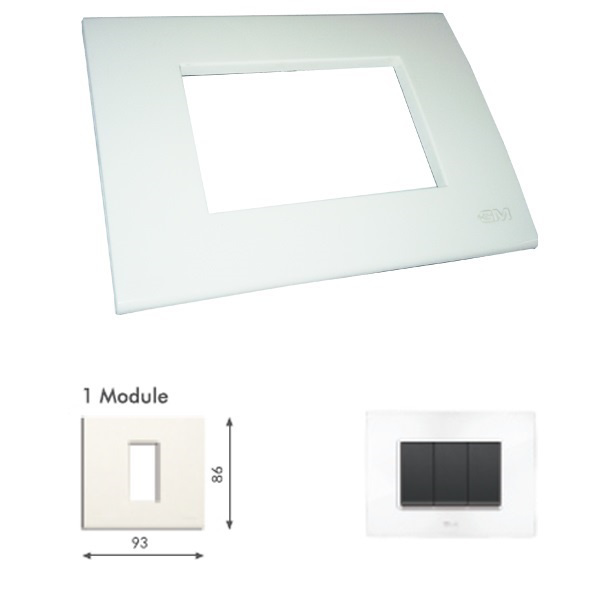 Picture of GM Casablanca PKSB01001 1M Glossy White Cover Plate With Frame