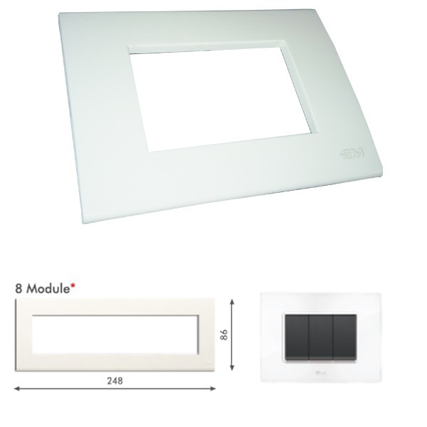 Picture of GM Casablanca PKSB08011 Horizontal 8M Glossy White Cover Plate With Frame