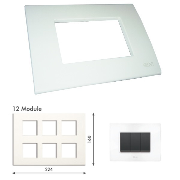 Picture of GM Casablanca PKSB12007 Vertical 12M Glossy White Cover Plate With Frame