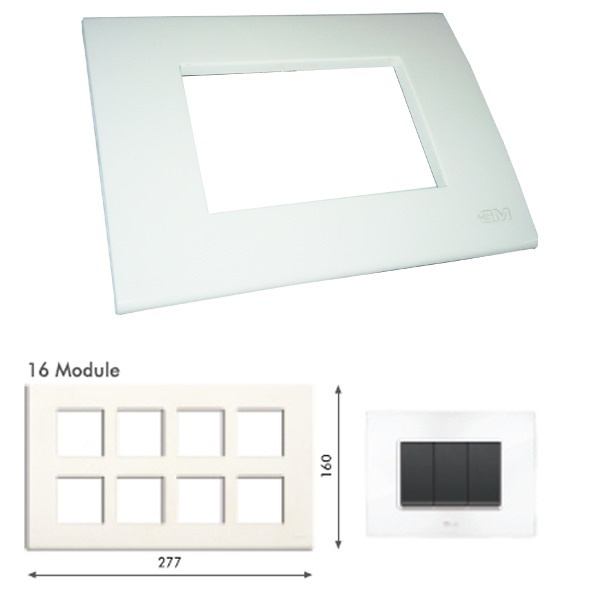 Picture of GM Casablanca PKSB16008 16M Glossy White Cover Plate With Frame