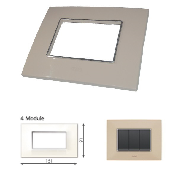 Picture of GM Casaviva PXSF04004 Glossy Horizontal 4M Ivory Cover Plate With Frame